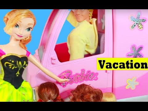 FROZEN Summer Countdown Barbie Motorhome Bus RV Camping Vacation Toby Toys AllToyCollector