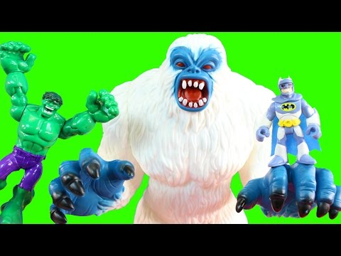 Imaginext Batman Tries To Get Replica Blaster From Mr. Freeze Snow Monster And Hulk Save The Day