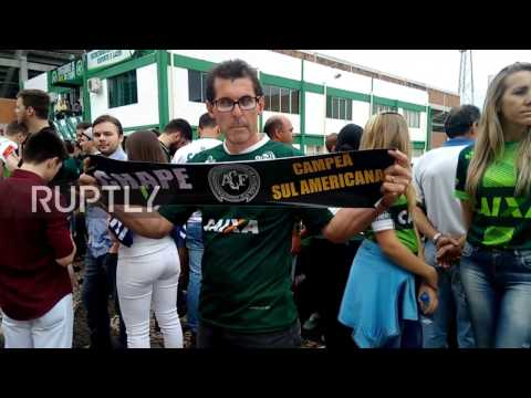Brazil: Chapecoense fans mourn fatal plane crash outside team's stadium