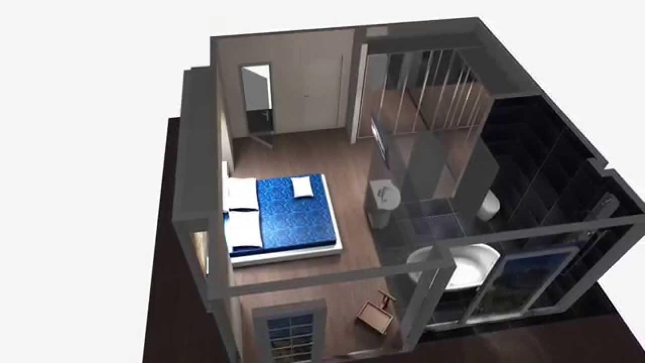 Dise o dormitorio ba o javier 1 opci n youtube for Cuarto 4x4 metros
