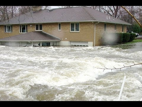 Massive Flood Waters Covering Houses In Europe