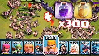 Clash Of Clans - 300 BARBS X 300 HEALS + 300 RAGE SPELLS!!! (Troll Raids against TH11)