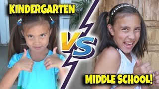 KINDERGARTEN VS. MIDDLE SCHOOL!!! First Day of School Morning Routine!
