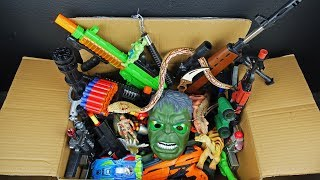 Big Box Full of Toy Weapons - Dinosaur Figure Lighted Hulk Mask - Realistic Powerful Rifles