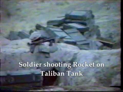 Brave Afghan-Tajik freedom fighters are demolishing Taliban tanks and bunkers - December 1999