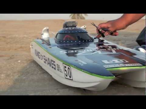 Large Scale RC boat King of Shaves 540 kv 10 Cell Lipo - 1st test