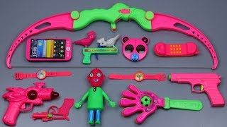 New Archery Bow and Arrow with Toy Guns Toys | Learn Names & Pink Colors with Lots of Colorful Toys