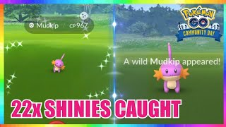 22x SHINY MUDKIP CAUGHT during Community Day Event in Pokemon Go!