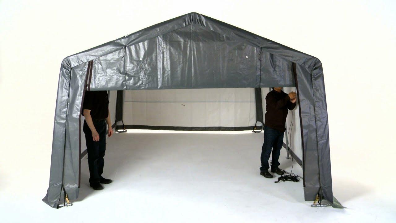 Shelterlogic 174 Pull Eaze Roll Up Door Kit Youtube