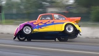 CRASH! Volkswagen Beetle Drag Car Roll Over at Rivanazzano Dragway!