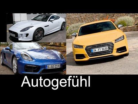 Best sports car comparison test review Porsche Cayman vs Jaguar F-TYPE vs Audi TTS - Autogefühl