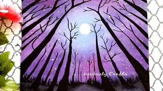 Galaxy Painting for beginners | Moonlight Scenery Painting