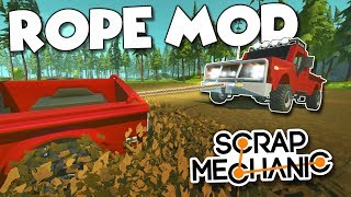 NEW ROPES MOD! - Sky Crane Helicopter and Truck Towing! - Scrap Mechanic Creations! - Episode 164