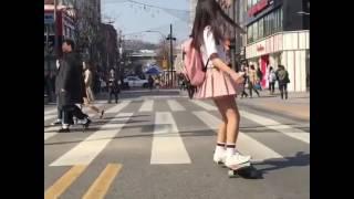 Graceful School Girl Dancing On A Longboard On The Way To School #longboard #schoolgirl