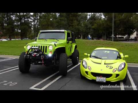 Neon Green Jeep and Lotus &#8211; would you take in this color, sports car or 4&#215;4?