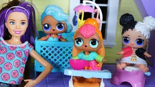 LOL SURPRISE DOLLS Meet Nicki The Babysitter While BARBIE And KEN Go Shopping!