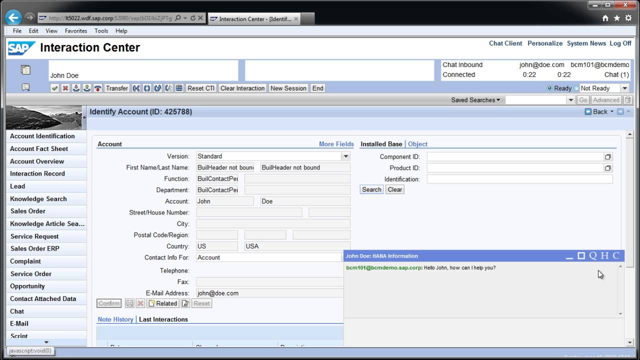 New Sap Crm Interaction Center Chat Client Youtube