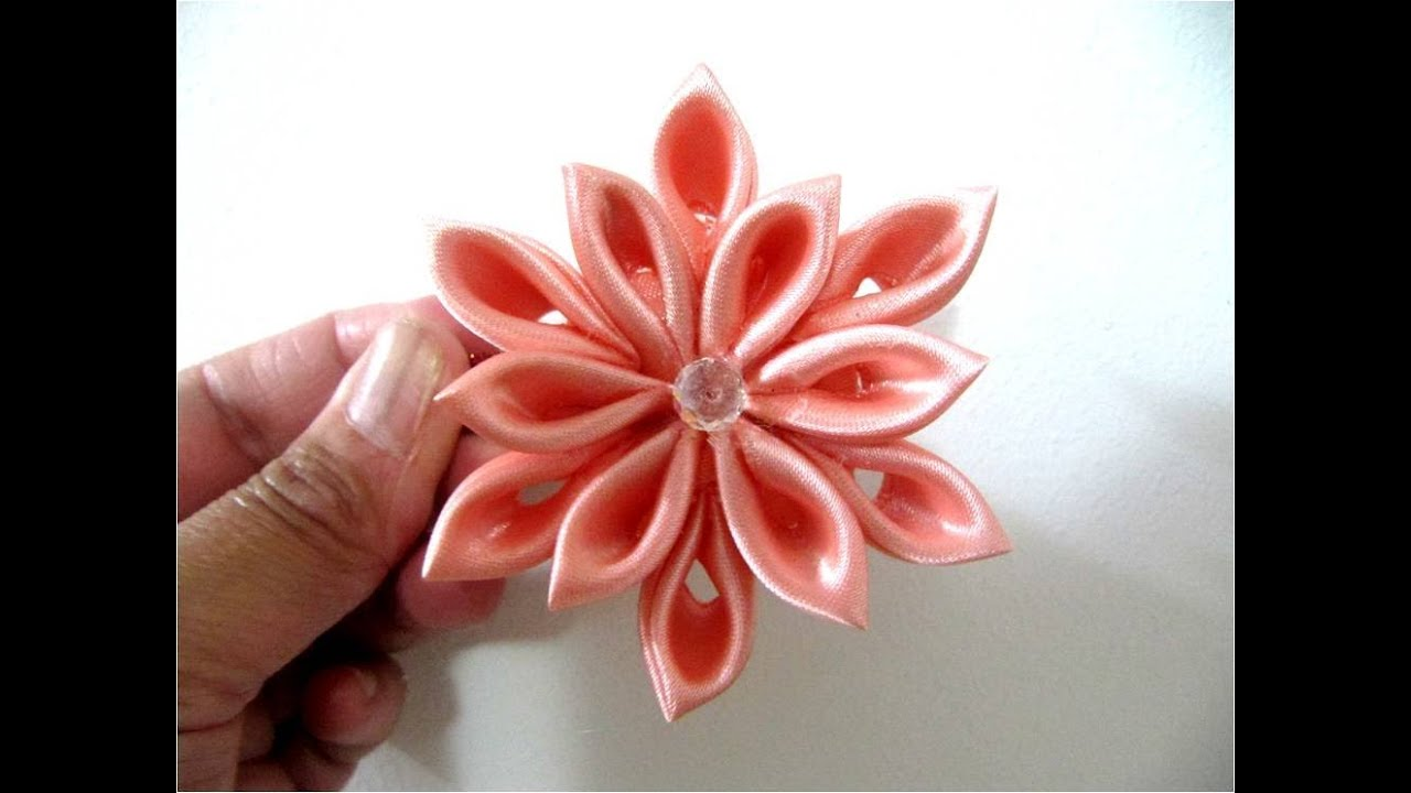Mo os en cintas para el cabello flor doce p talos youtube - Flores de telas hechas a mano ...