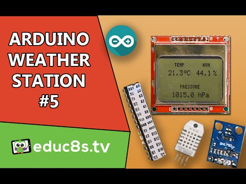 Arduino Project: Weather Station Project with ATMEGA328P, DHT22, BMP180, BH1750 and a Nokia 5110 LCD