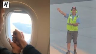 Playing Rock-Paper-Scissors With an Airplane Worker Before Flight