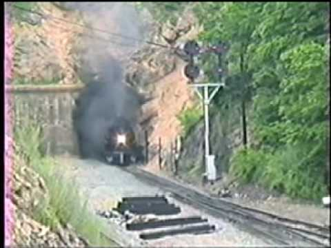Steam locomotive N&W 1218 blast out of Christiansburg tunnel