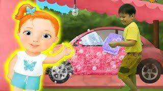 Bé tập kỹ năng rửa và lau chùi xe hơi hoạt hình vui nhộn Kênh trẻ em - video cho bé yêu