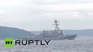 Video: US (Navy) destroyer 'Truxtun' passes through Dardanelles towards Black Sea amid Crimea tension