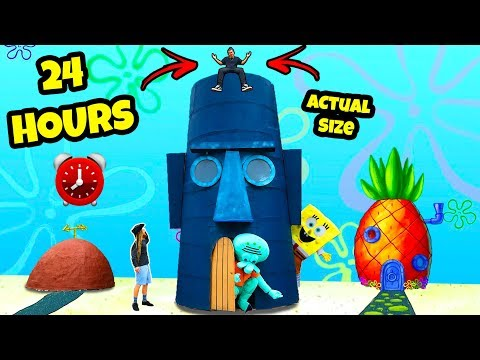 I Spent 24 Hours Inside SquidWards House - Challenge