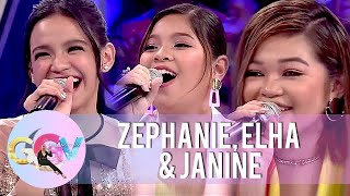 Vice Ganda gets entertained by Zephanie, Elha and Janine on Mash Up Challenge | GGV
