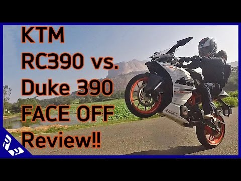 KTM RC390 Vs  Duke 390 Face off review Road test. Comparison and action video