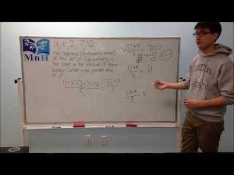 Manhattan Academy Instructional Videos - Median and Mean SAT Problem - 06/08/2013