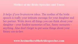 Mother of Bride Speech - Expression of a Mother's Love For Her Daughter