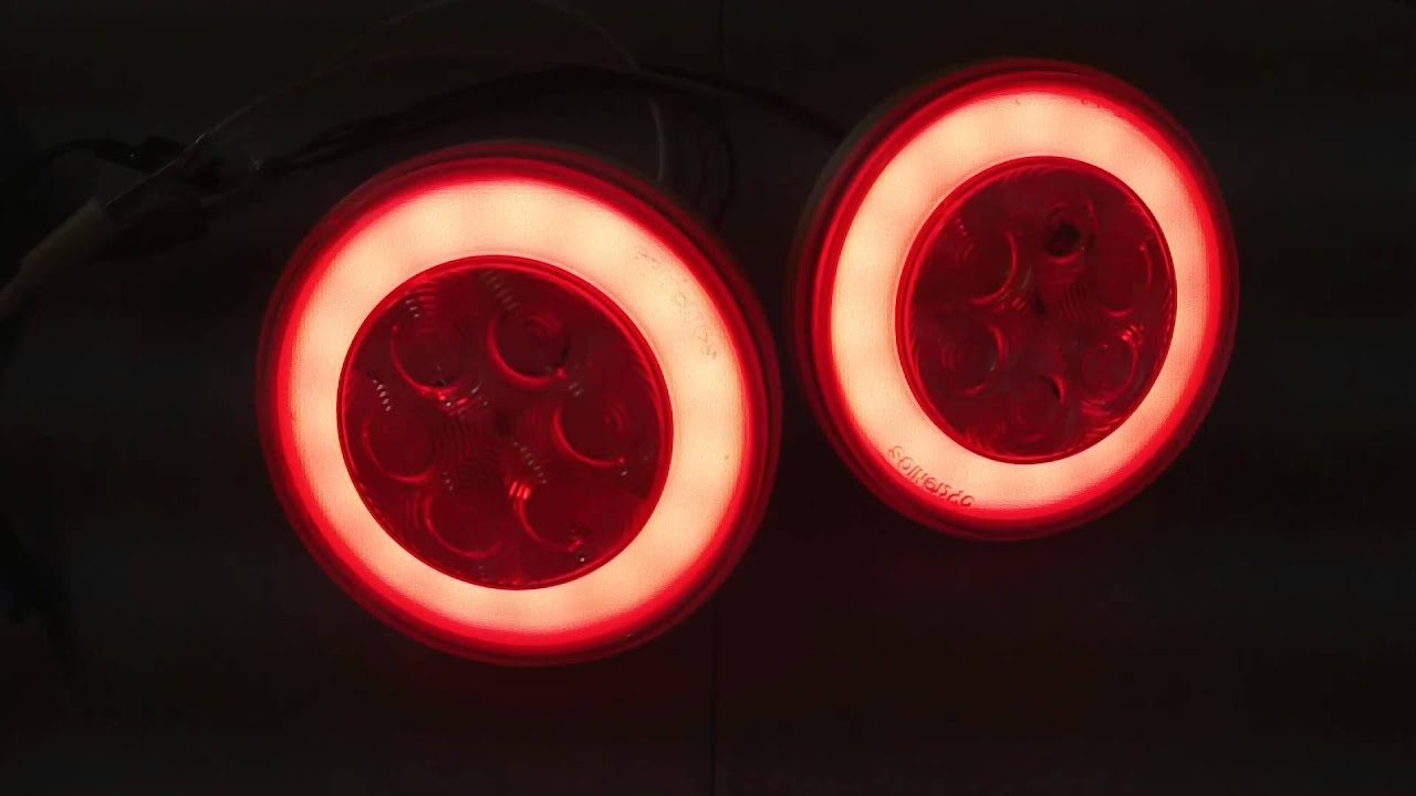 2 Led Round Trailer Brake Light With Red Lens And Clear