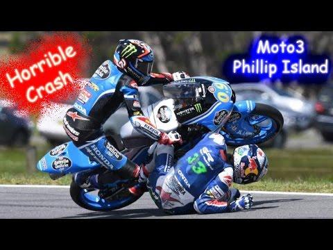 Red Flag Moto3 Phillip Island Horrible Crash John Mcphee Andrea Migno Enea Bastianini Jorge Navarro