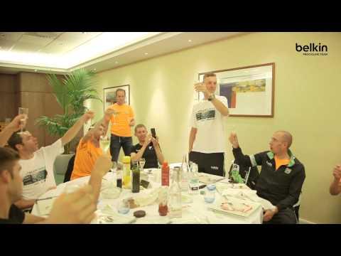 #TDF - Champagne for Lars Boom & TEAM Belkin after Tour de France stage win