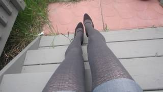 Wearing Bree tights by Fiore, 60 den, dark grey shade with high heel shoes! (Pantyhose Sale)