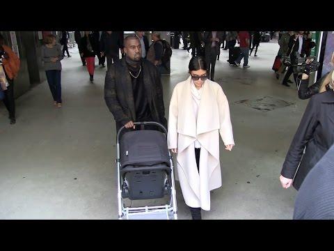 Kim Kardashian, Kanye West and baby Nirth arrive at Paris Gare du Nord