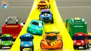 Learning Color Disney Cars Lightning McQueen and city vehicle slide Play for kids car toys