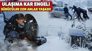 Tokat'ta Ulaşıma Kar Engeli... Sürücüler Zor Anlar Yaşadı