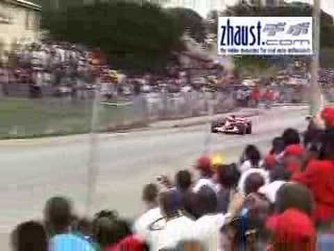 Ferrari F1 drives on the streets of Barbados (pre V-Power)