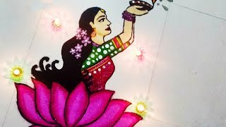 Diwali Rangoli: Lady with diya and lotus Rangoli