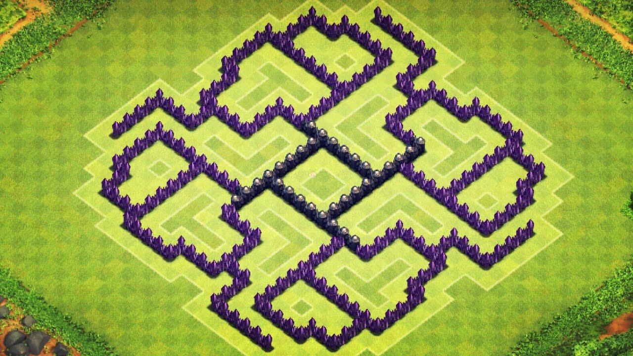 Best clash of clans th8 anti hog unlurable cc war trophy base layout