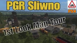 PGR Sliwno, 1st Look Map Tour. Farming Simulator 17 PS4. New Mod Map.