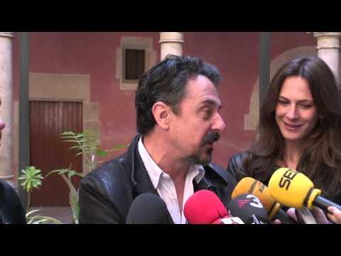 Els actors Pere Ponce, Belén Fabra i Sílvia Sabaté roden un spot promocional de Tortosa