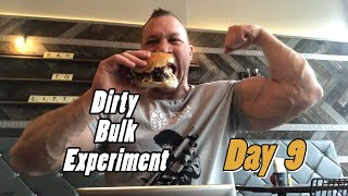 Dirty Bulk Experiment day 9, full day of eating - pancakes, burgers, fish and chips, pasta = gains