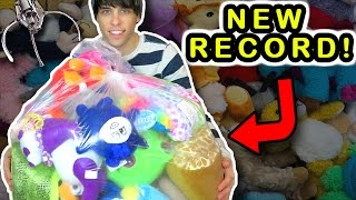 RECORD BREAKING CLAW MACHINE WINS DONATION! | Claw Machine