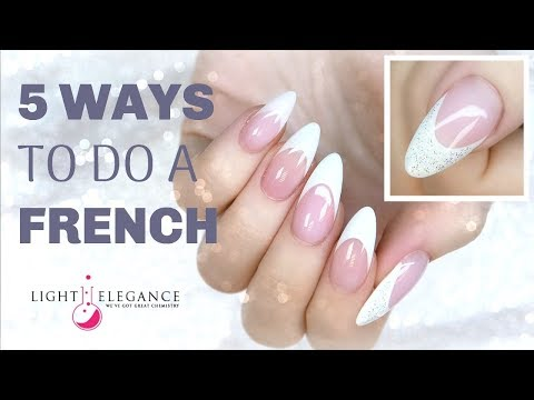 TUTORIAL   5 WAYS TO DO A FRENCH!   GEL NAILS REVERSE   LIGHT ELEGANCE