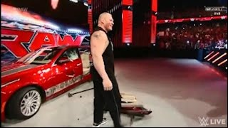 WWE Monday Night RAW | Brock Lesnar destroys J&J Security's car and attacks Seth Rollins