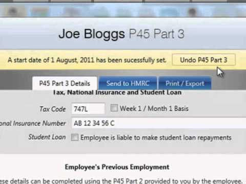 BrightPay Payroll Software UK:New Employees - P45 Part 3 and P46