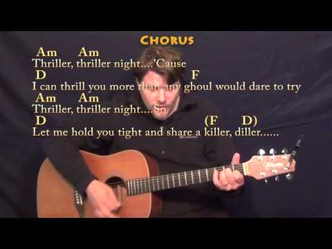 Thriller Michael Jackson Strum Guitar Cover Lesson in Am with Chords